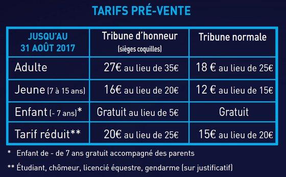 Tarifs Prévente 2017 Spectacle Garde Républicaine Thillombois