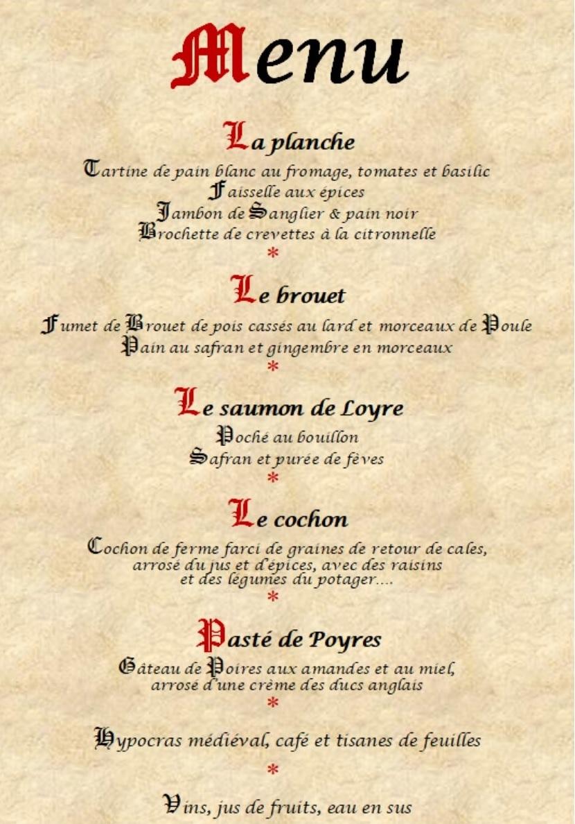 menu gastronomique médiéval gombervaux vaucouleurs