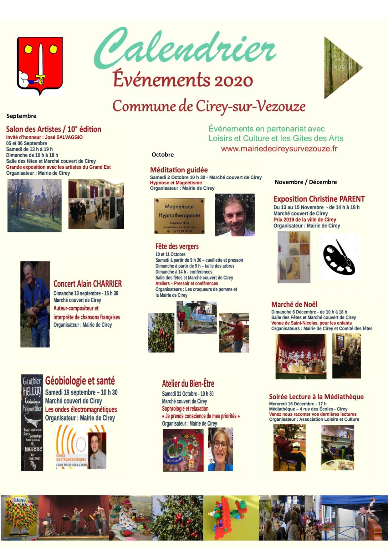 Calendrier animations Cirey-sur-Vezouze 2020