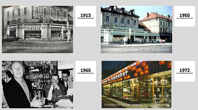historique vitrines du magasin Cristaux Vessière Baccarat