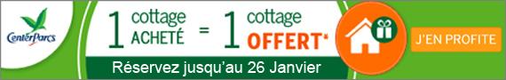 Offre Center Parcs 1 Cottage Acheté 1 Cottage Offert