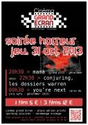 Soirée Halloween Films d'Horreur à Serémange-Erzange 57290 Serémange-Erzange du 31-10-2013 à 18:30 au 01-11-2013 à 00:30