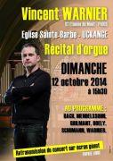 Récital d'Orgue Vincent Warnier à Uckange 57270 Uckange du 12-10-2014 à 13:30 au 12-10-2014 à 15:00