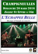 Concert Saint Patrick L'Echappée Belle à Champigneulles 54250 Champigneulles du 20-03-2016 à 14:00 au 20-03-2016 à 16:00