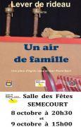 Théâtre à Semécourt Un Air de Famille 57210 Semécourt du 08-10-2016 à 18:30 au 09-10-2016 à 15:00