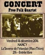 Concert Free Folk Quartet à Nancy 54000 Nancy du 16-12-2016 à 19:00 au 16-12-2016 à 21:30