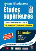 Salon Studyrama Nancy Études Supérieures  54000 Nancy du 21-01-2017 à 07:30 au 21-01-2017 à 15:30