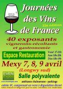 Journées des Vins de France à Mexy Longwy 54135 Mexy du 07-04-2017 à 17:00 au 09-04-2017 à 19:00