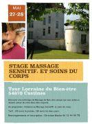 Stage Massage Sensitif et Soins du Corps à Custines 54670 Custines du 27-05-2017 à 09:00 au 28-05-2017 à 17:00