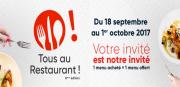 Opération Tous au Restaurant en Lorraine  Lorraine, Meuse, Meurthe-et-Moselle, Vosges, Moselle du 18-09-2017 à 10:00 au 01-10-2017 à 20:00