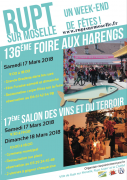 Foire aux Harengs Rupt sur Moselle Salon Vins et Terroir 88360 Rupt-sur-Moselle du 17-03-2018 à 09:00 au 18-03-2018 à 18:00