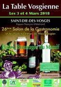 Salon Gastronomie la Table Vosgienne Saint-Dié-des-Vosges 88100 Saint-Dié-des-Vosges du 03-03-2018 à 10:00 au 04-03-2018 à 19:00