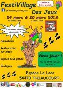Festival FestiVillage des Jeux à Thiaucourt-Regnéville 54470 Thiaucourt-Regniéville du 24-03-2018 à 10:00 au 25-03-2018 à 18:00