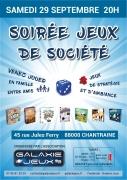 Soirée Jeux de Société à Chantraine 88000 Chantraine du 29-09-2018 à 20:00 au 29-09-2018 à 23:59