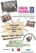 Concert Choeur Régional de Lorraine à Maizières-lès-Vic 57810 Maizières-lès-Vic du 20-10-2018 à 20:00 au 20-10-2018 à 23:00