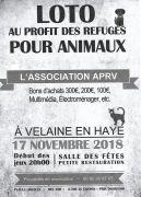 Loto pour les Animaux Velaine-en-Haye 54840 Velaine-en-Haye du 17-11-2018 à 18:00 au 17-11-2018 à 23:00