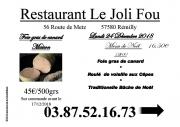 Menu de Noël Le Joli Fou Rémilly 57580 Rémilly du 24-12-2018 à 12:00 au 24-12-2018 à 14:00