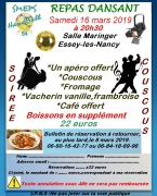 Repas dansant du SMEPS Handball à Essey-lès-Nancy 54270 Essey-lès-Nancy du 16-03-2019 à 20:30 au 17-03-2019 à 03:00