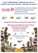 Collecte de livres solidaire à Nancy 54000 Nancy du 25-03-2019 à 09:30 au 29-03-2019 à 18:00