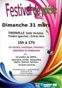 Festival de Poésie et Humour à Thionville 57100 Thionville du 31-03-2019 à 15:00 au 31-03-2019 à 17:00