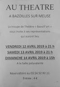 Théâtre à Bazoilles-sur-Meuse  88300 Bazoilles-sur-Meuse du 12-04-2019 à 21:00 au 14-04-2019 à 17:00