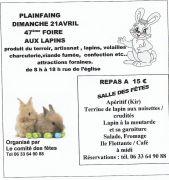 47e Foire aux Lapins à Plainfaing 88230 Plainfaing du 21-04-2019 à 08:00 au 21-04-2019 à 18:00
