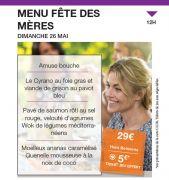 Menu Fête des Mères au Casino JOA Gérardmer 88400 Gérardmer du 26-05-2019 à 12:00 au 26-05-2019 à 14:00