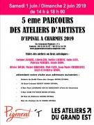 Parcours d'Ateliers d'Artistes à Épinal  88000 Epinal du 01-06-2019 à 10:00 au 02-06-2019 à 18:00