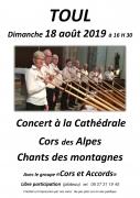 Concert de Cors des Alpes à Toul 54200 Toul du 18-08-2019 à 16:30 au 18-08-2019 à 18:00