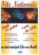 Fête Nationale et Feu d'Artifice à Ars-sur-Moselle 57130 Ars-sur-Moselle du 13-07-2019 à 20:00 au 13-07-2019 à 23:55