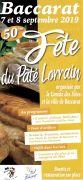 Fête du Pâté Lorrain à Baccarat 54120 Baccarat du 07-09-2019 à 21:00 au 08-09-2019 à 19:00