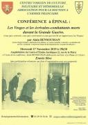 Conférence écrivains morts durant la Grande Guerre à Epinal 88000 Epinal du 27-11-2019 à 19:30 au 27-11-2019 à 22:30