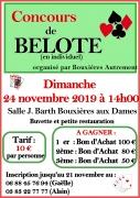 Concours de Belote en individuel à Bouxières-aux-Dames 54136 Bouxières-aux-Dames du 24-11-2019 à 14:18 au 24-11-2019 à 18:00