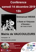 Conférence L'Iliade et l'Odyssée d'Homère à Vaucouleurs 55140 Vaucouleurs du 14-12-2019 à 15:00 au 14-12-2019 à 17:00