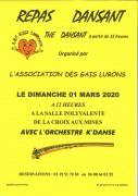 Repas Dansant et Thé Dansant à La-Croix-aux-Mines 88520 La Croix-aux-Mines du 01-03-2020 à 12:00 au 01-03-2020 à 19:00