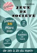 Week-End Jeux de Société à Rosières-en-Haye 54385 Rosières-en-Haye du 28-03-2020 à 14:00 au 29-03-2020 à 03:00