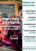 Marchés Paysans à Sarrebourg Moselle Sud Walscheid, Rhodes, Sarrebourg, Saint-Quirin, Fénétrange du 08-07-2020 à 18:00 au 20-09-2020 à 17:00