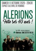 Concert 40 ans d'Alérions à Rombas 57120 Rombas du 10-10-2020 à 20:30 au 10-10-2020 à 22:30