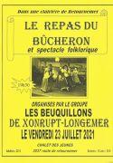 Le Repas du Bucheron à Xonrupt-Longemer les Beuquillons 88400 Xonrupt-Longemer du 23-07-2021 à 19:30 au 23-07-2021 à 23:00