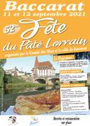 Fête du Pâté Lorrain à Baccarat 54120 Baccarat du 11-09-2021 à 17:00 au 12-09-2021 à 19:00